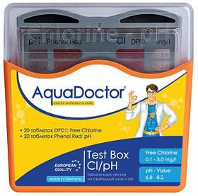 Таблеточный тестер AquaDoctor Test Box Cl/pH (20 тестов)