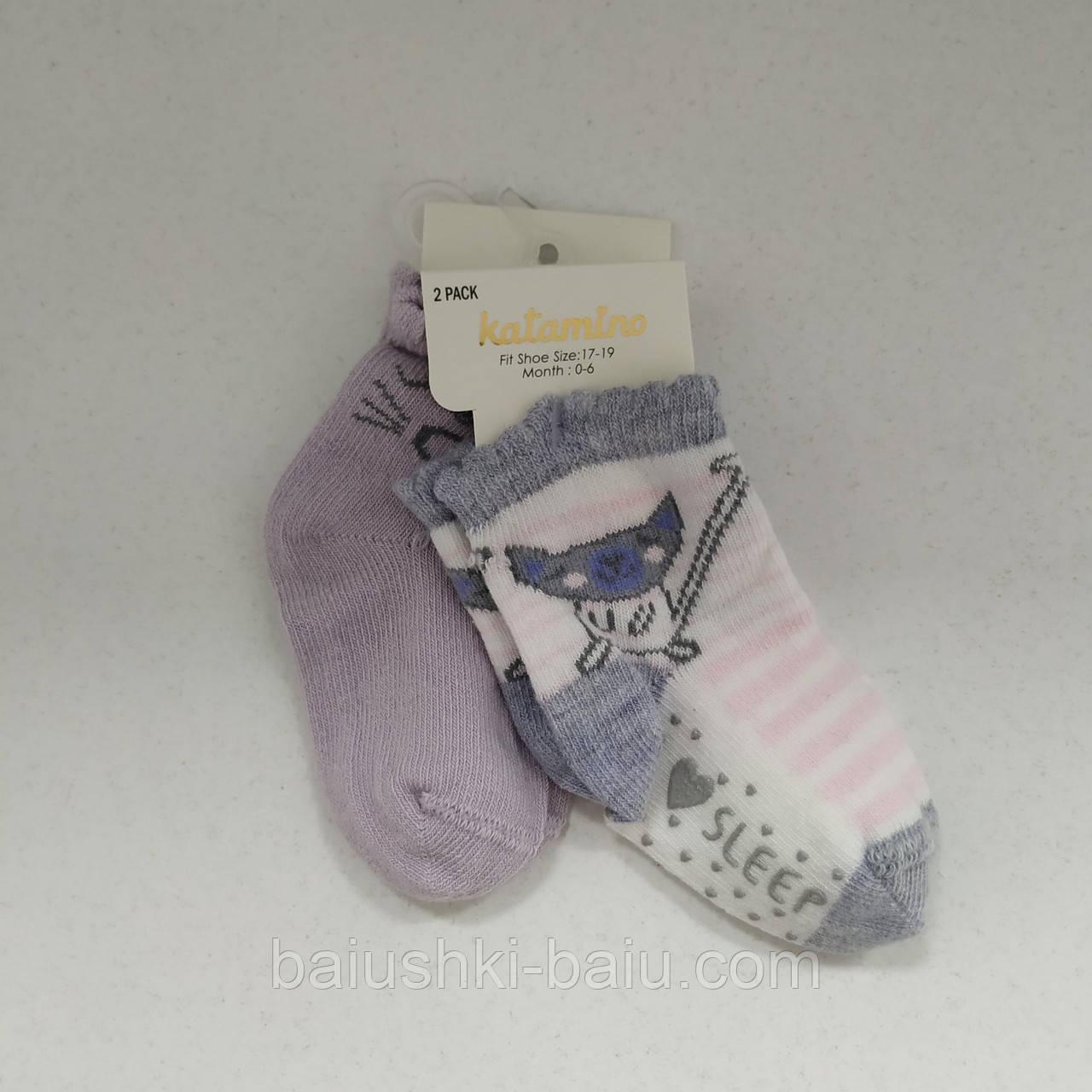 Детские носки для девочки с тормозами, 2 пары, 0-6 мес, Турция