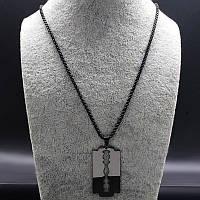 Кулон желетка з нержавійки, чорний готичний (60 см), фото 1