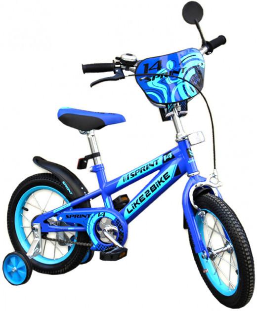 Двухколесный детский велосипед 18 дюймов Like2bike Sprint 191835 Синий с боковыми тренировочными колесами