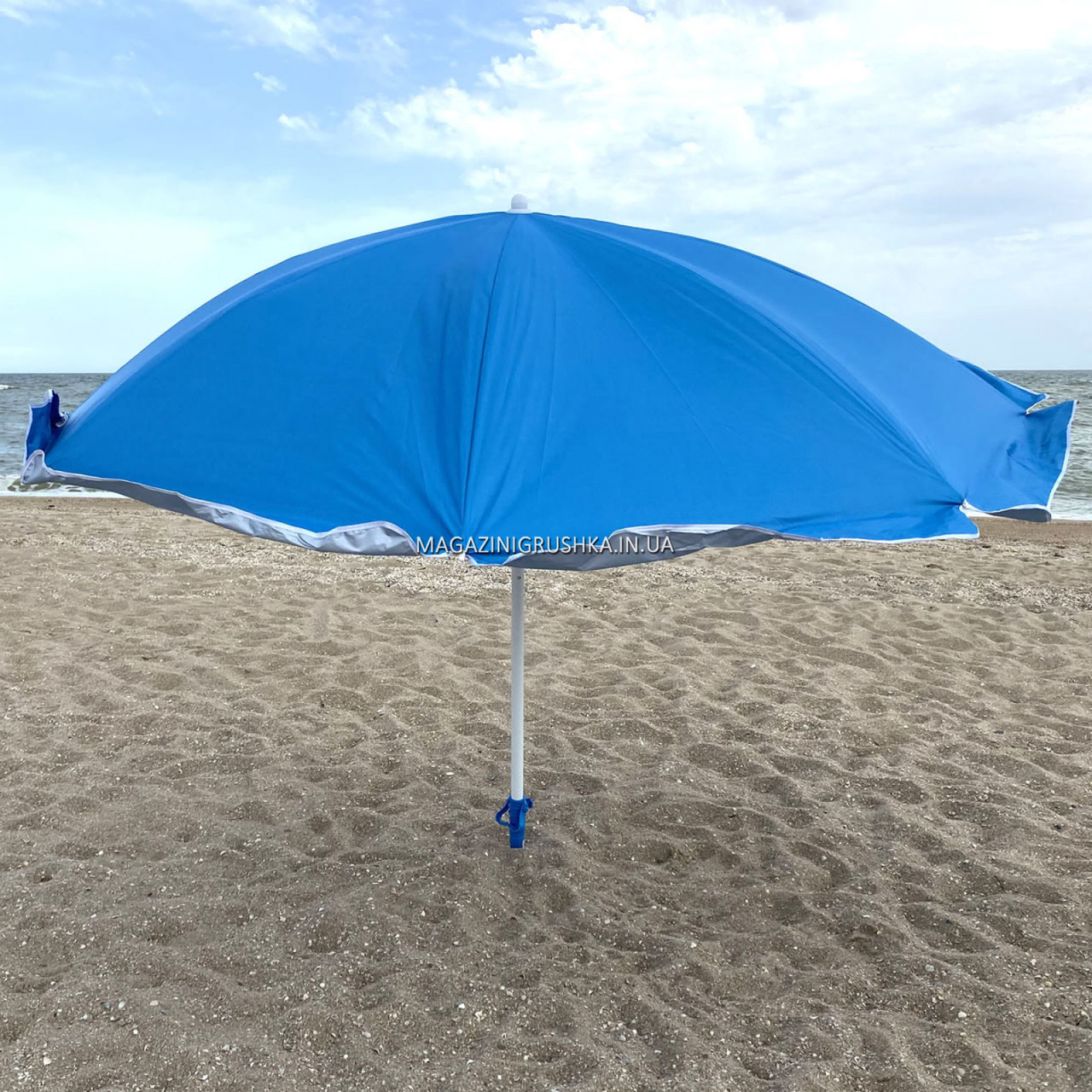Зонт пляжный (диаметр - 1.8 м) - серебро, синий (МН-2686)