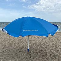 Зонт пляжный (диаметр - 1.8 м) - серебро, синий (МН-2686), фото 2