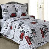 Двуспальное постельное белье бязь гост газета Лондон ТМ Блакит  хлопок 120 г/м. кв., фото 1