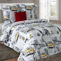 Двуспальное постельное белье бязь гост газета New York ТМ Блакит  хлопок 120 г/м. кв.