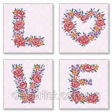 """Набор для росписи по номерам Слова """"LOVE цветы"""", полиптих, 18х18 см, 3*"""