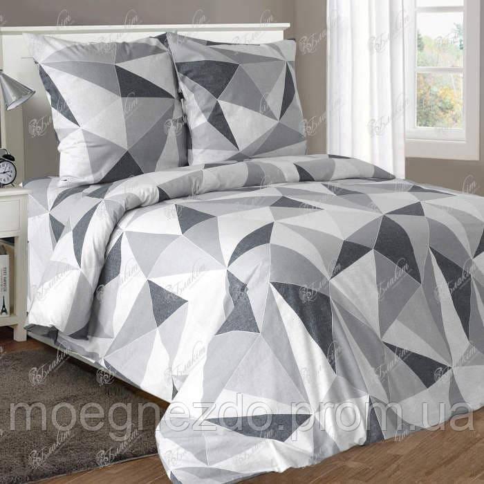 Двуспальное постельное белье бязь гост серое геометрия ТМ Блакит  хлопок 120 г/м. кв.
