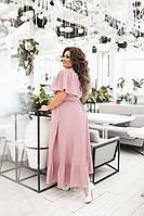 Светлое длинное летнее платье большого размера с воланом и оборкой (L/XL, XL/XXL)