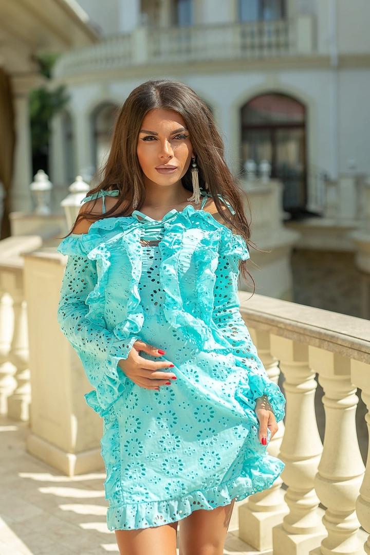Легкое и нежное платье из прошвы на подкладе, 7цветов , р.44,46,48,50 Код 848В