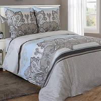 Двуспальное постельное белье бязь гост  серо-голубое узоры ТМ Блакит  хлопок 120 г/м. кв.