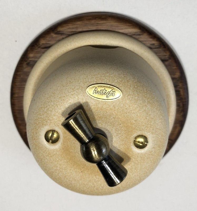 Ретро вимикач фарфоровий поворотного типу перехресний Lux Cream, фурнітура дерево, бронза, хром