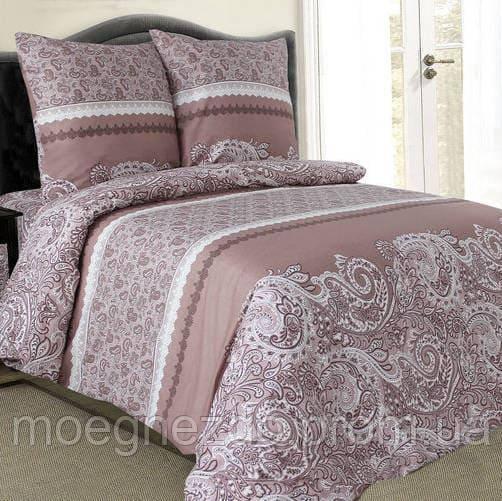 Двуспальное постельное белье бязь гост коричневое узоры ТМ Блакит  хлопок 120 г/м. кв.