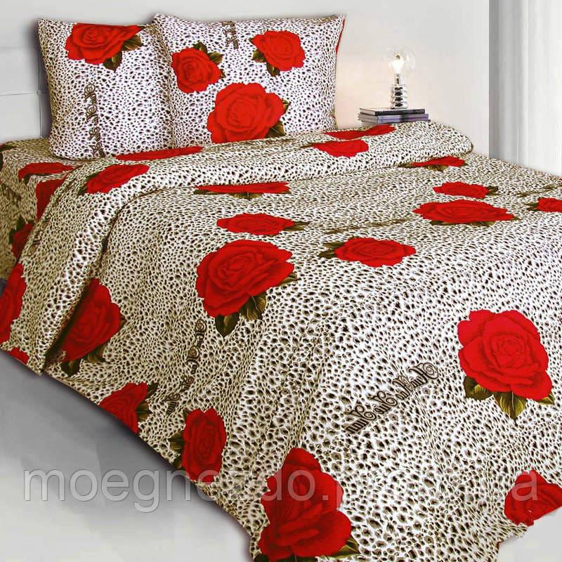 Двуспальное постельное белье бязь гост леопард розы ТМ Блакит  хлопок 120 г/м. кв.
