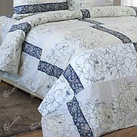 Двуспальное постельное белье бязь гост  бежевое розы ТМ Блакит  хлопок 120 г/м. кв.