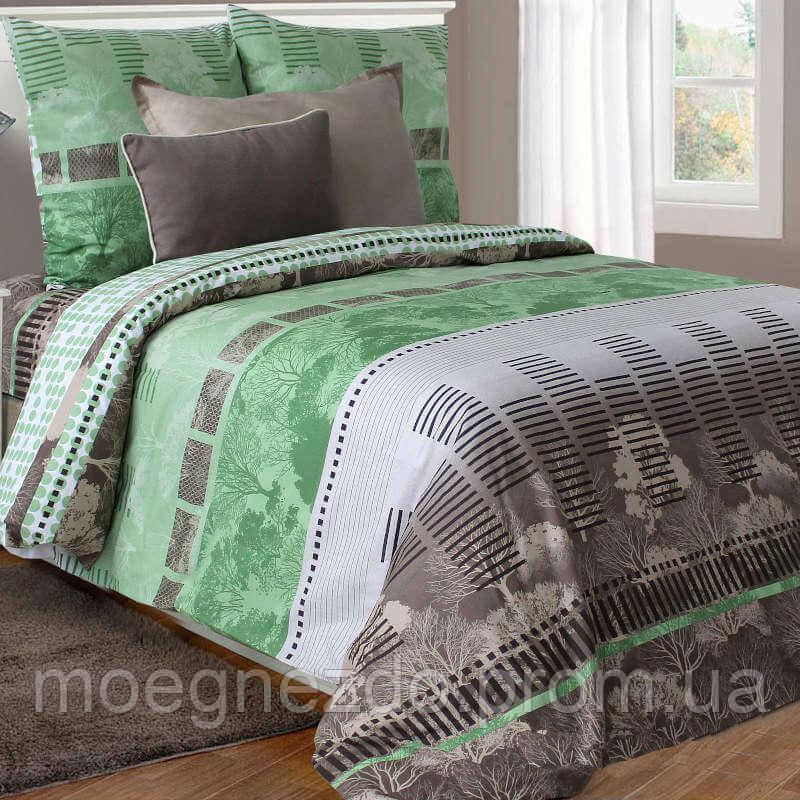 Двуспальное постельное белье бязь гост  серо-зеленое природа ТМ Блакит  хлопок 120 г/м. кв.