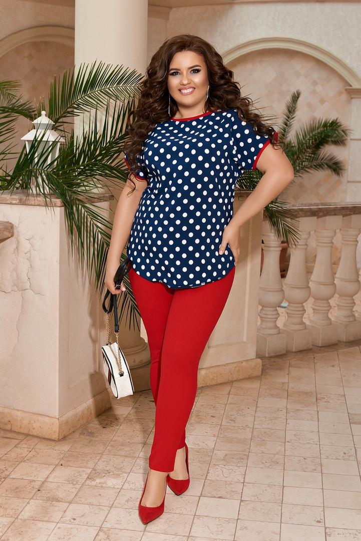 Женский костюм блуза и лосины стильный летний размеры: 50-52, 54-56, 58-60, 62-64