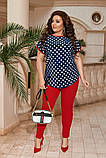 Женский костюм блуза и лосины стильный летний размеры: 50-52, 54-56, 58-60, 62-64, фото 3