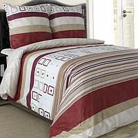 Двуспальное постельное белье бязь гост бежево-красное полосы  ТМ Блакит  хлопок 120 г/м. кв.