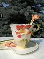 Чашка для чая с блюдцем  и ложечкой-Китай.