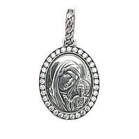 Срібна ладанка Богородиця з цирконієм 3726-ч, фото 1