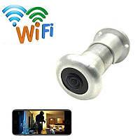 Видеоглазок wifi c датчиком движения, подсветкой и записью HQCam 405B, 2 Мп, серебристый, фото 1