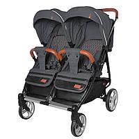 Прогулочная коляска для двойни CARRELLO Connect CRL-5502 Serious Black в льне