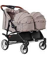 Прогулочная коляска для двойни CARRELLO Connect CRL-5502/1 Cotton Beige с люлькой и дождевиком