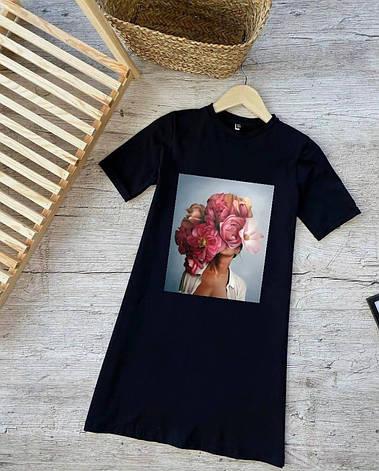 Летнее трикотажное платье-футболка размеры  42,44,46,48, фото 2