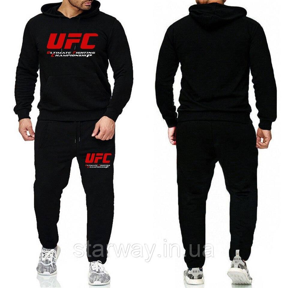 Спортивный черный костюм в стиле UFC с капюшоном