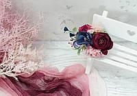 Заколка в волосы. Сине-вишнево-розовая, фото 1