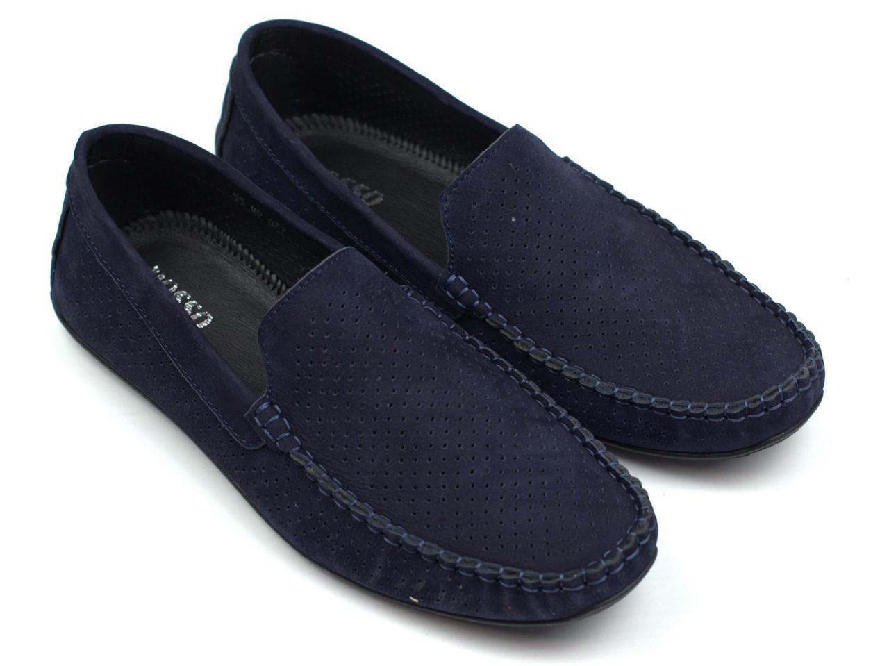 Чоловічі мокасини сині нубук перфорація літнє взуття Rosso Avangard M4 Perf Blu Sea