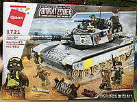 Конструктор Brick 1721, Qman Боевой танк 482 деталей, лего танк 5 фигурок, в коробке 41x30x6