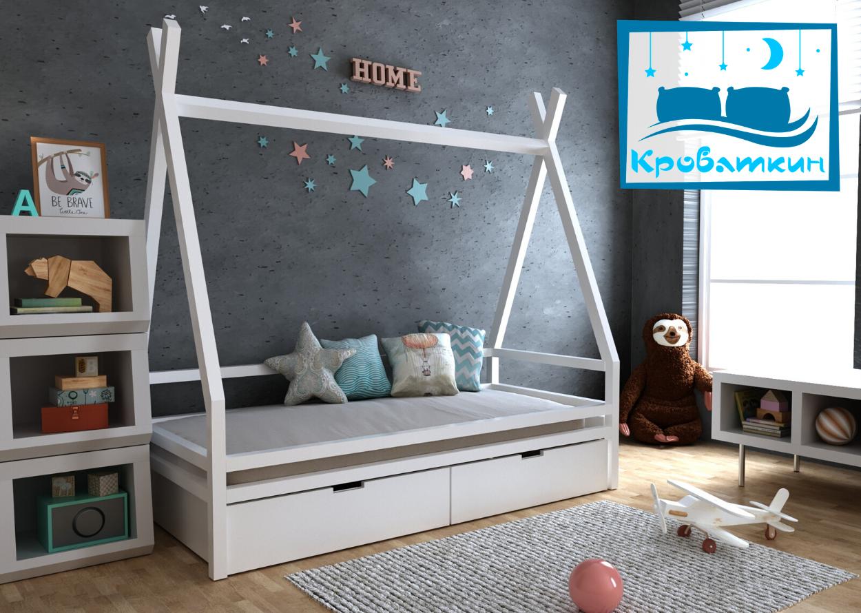 Деревянная детская кровать Моана с ящиками 70х140см МегаОпт