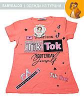 """Красивая футболка  для девочки """"Tik-tok"""" (от 5 до 8 лет)"""