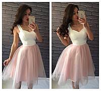 С1648 Коктейльное платье с фатиновой юбкой