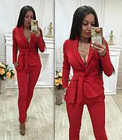 С1606 Летний костюм-двойка брюки и пиджак красного цвета/ красный