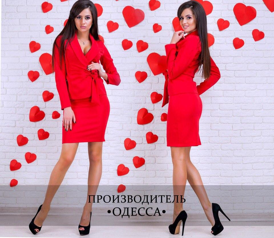 Костюм юбка и жакет арт. С1632 красный/ красного цвета