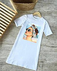Молодіжне трикотажне плаття-футболка розміри 42,44,46,48
