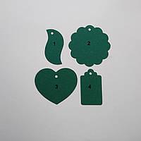Декор из экокрафт картона, бирки из картона, крафт этикетки, бирки Зеленый, фото 1
