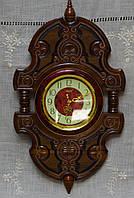 Годинник дерев'янний настінний горіх ручної роботи
