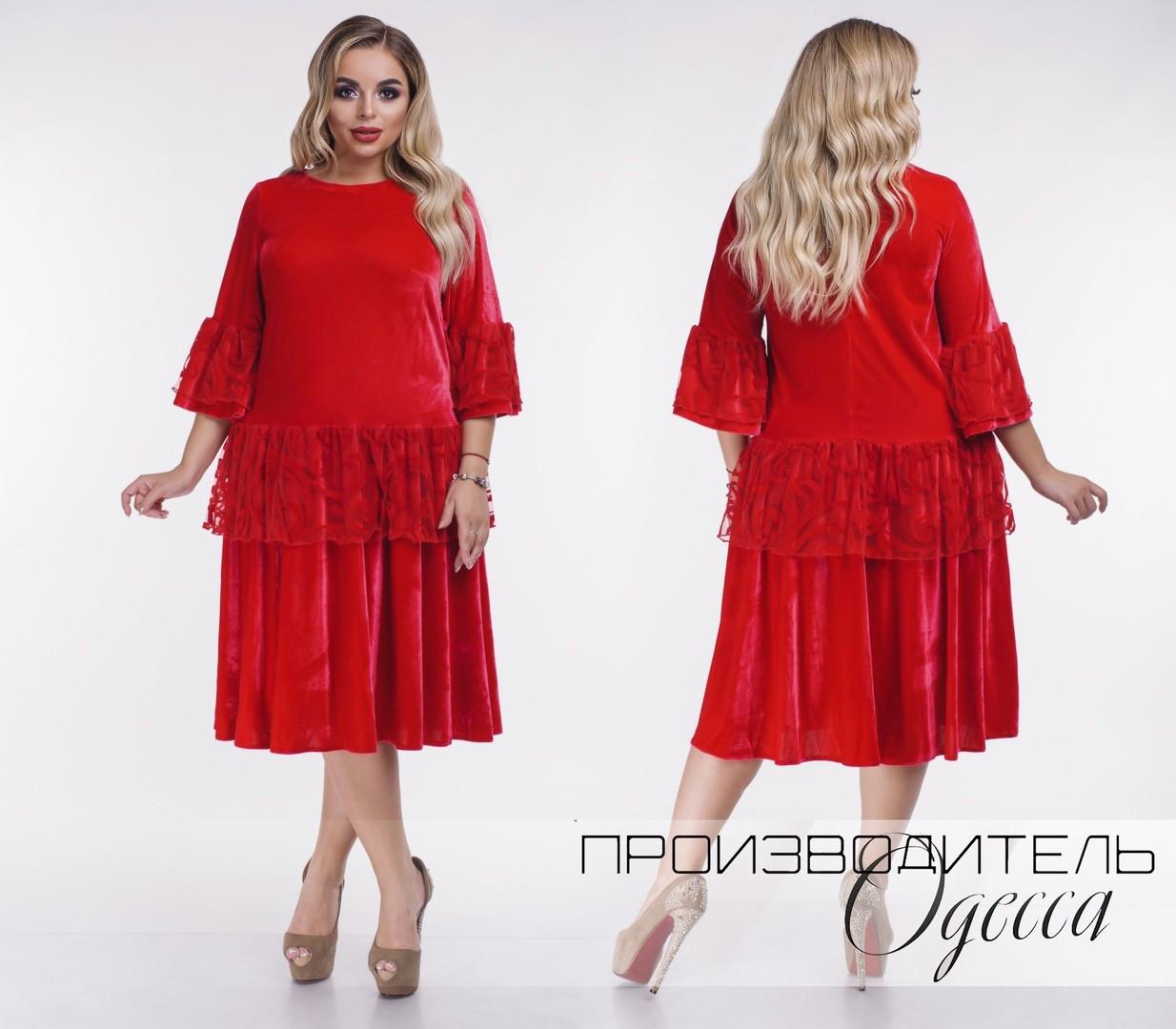 С1834 Велюровое платье с кружевом БАТАЛ, красное/ красного цвета