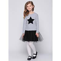 """Платье для девочек. Размер: 140. серый. TM """"VIDOLI"""" G-16036-2W. Украина."""