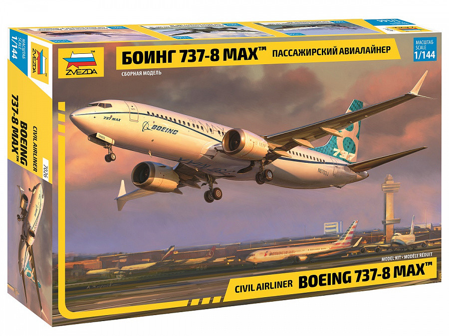 """Сборная модель """"Пассажирский авиалайнер Боинг 737-8 MAX"""" (масштаб: 1/144) Zvezda (7026)"""
