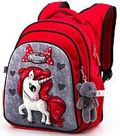 Школьный рюкзак с ортопедической спинкой Winner One для девочки Единорог 38х29х16 см Красный для 1 класса (R2-165)