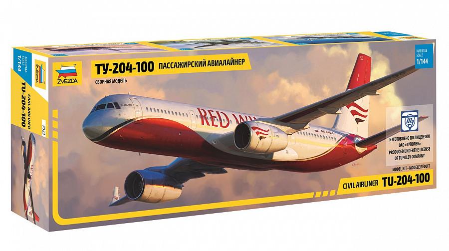 "Сборная модель ""Пассажирский авиалайнер Ту-204-100"" (масштаб: 1/144) Zvezda (7023)"