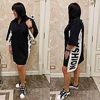 CDM-2748  Платье-рубашка свободного кроя БАТАЛ черное/ черного цвета/ черно-белое/ черное с белым, фото 1