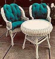 Белая плетеная мебель с накидками   Комплект плетеной мебели белой   мебель из лозы с журнальным столом