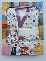 Подарочный набор для новорожденных мишка 4 единицы фиолетовый