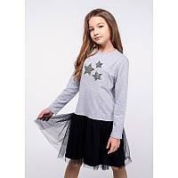 """Платье для девочек. Размер: 122. Серый,Черный. TM """"VIDOLI"""" G-19844W. Украина."""