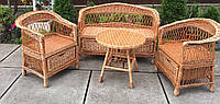 Плетеная мебель с шуфлядами   Комплект плетеной мебели с журнальным столом    мебель из лозы с низкой спинкой