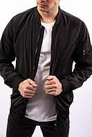 Мужская ветровка черная полиэстер осень и весна Турция демисезонная куртка с воротником стойка